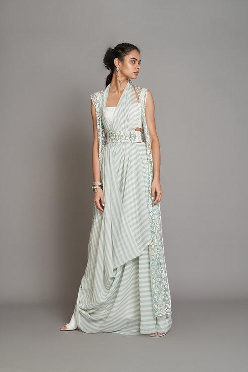 Mint Green Saree Gown