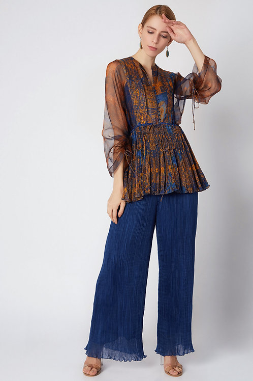 Blue Micropleated Palazzo