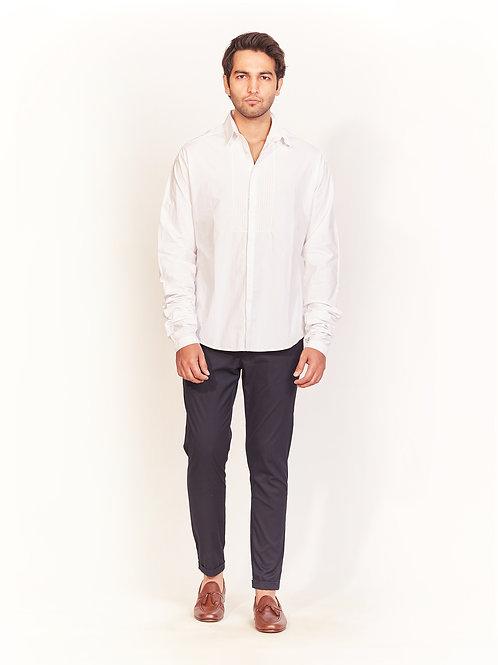White Front Stitch Detail Shirt