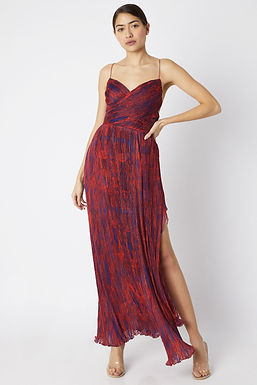 Blue And Red Printed Long Dress