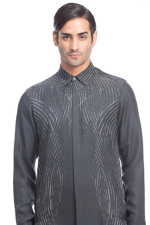 Charcoal Digital Printed Silk Shirt