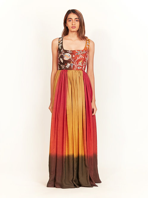 Multi Colour Hand Block Dyed Maxi Dress