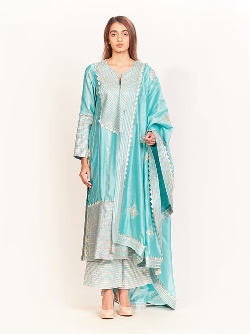 Aqua Gota Embroidered Anarkali Set