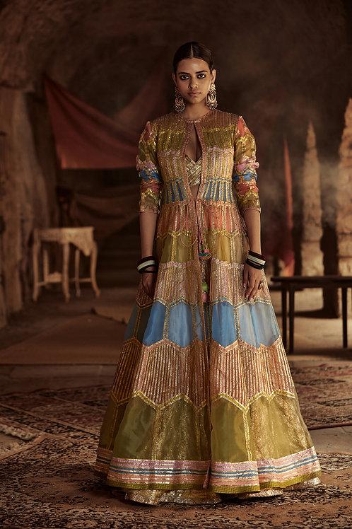 Multicolour And Gold Fiaza Jacket Skirt Set