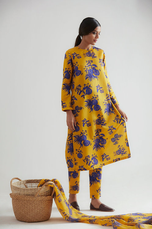Yellow Bentota Print Kurta Pant Set