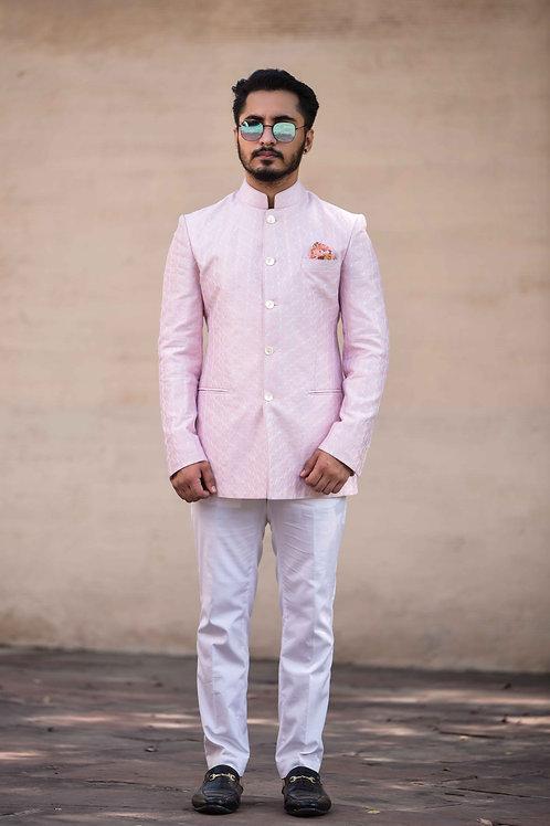 Rose Pink Embroidered Bandhgala