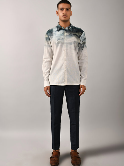 Ivory Camouflage Cloud Printed Shirt
