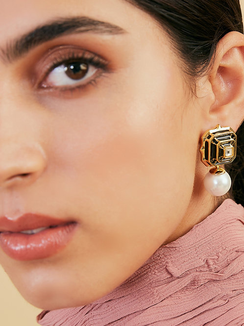 Black Hampi Square Drop Earrings