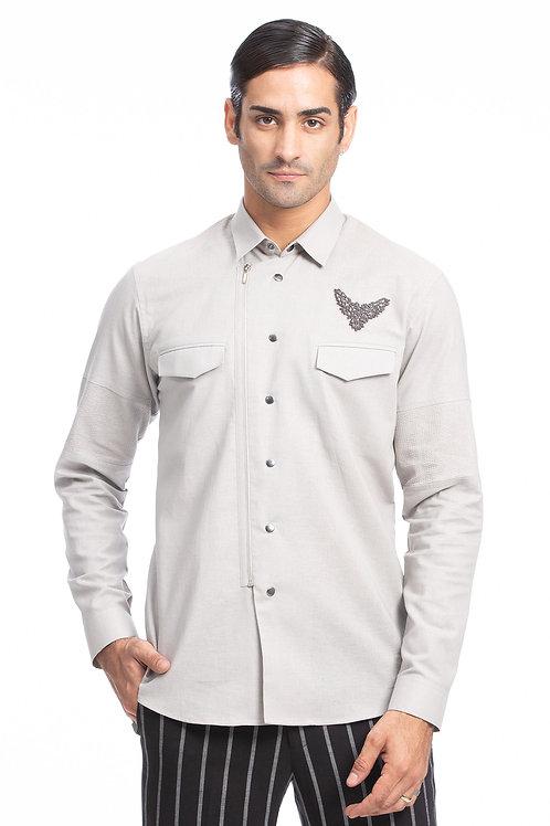 Grey Zipper Emblem Shirt