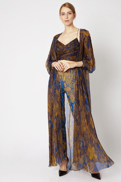 Blue And Yellow Printed Cape