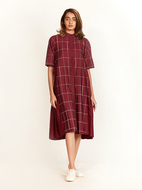 Plum Side Pleated Dress