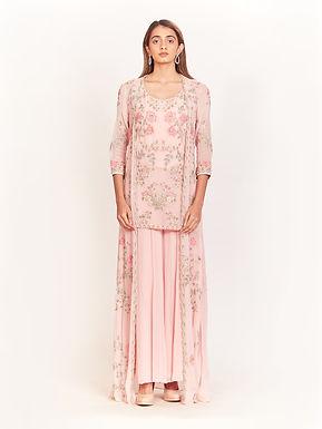 Pink Floral Embroidered Kurta Jacket Set