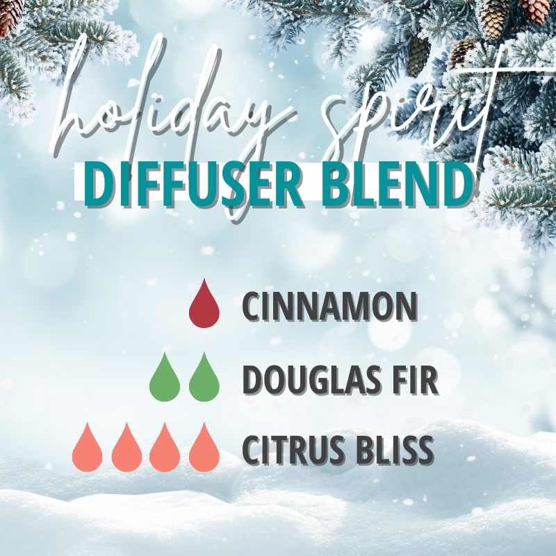 holiday spirit diffuser blend with cinnamon douglas fir and citrus bliss