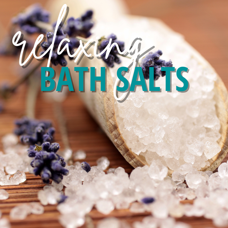 """image of bath salts with lavender by it. """"relaxing bath salts"""""""