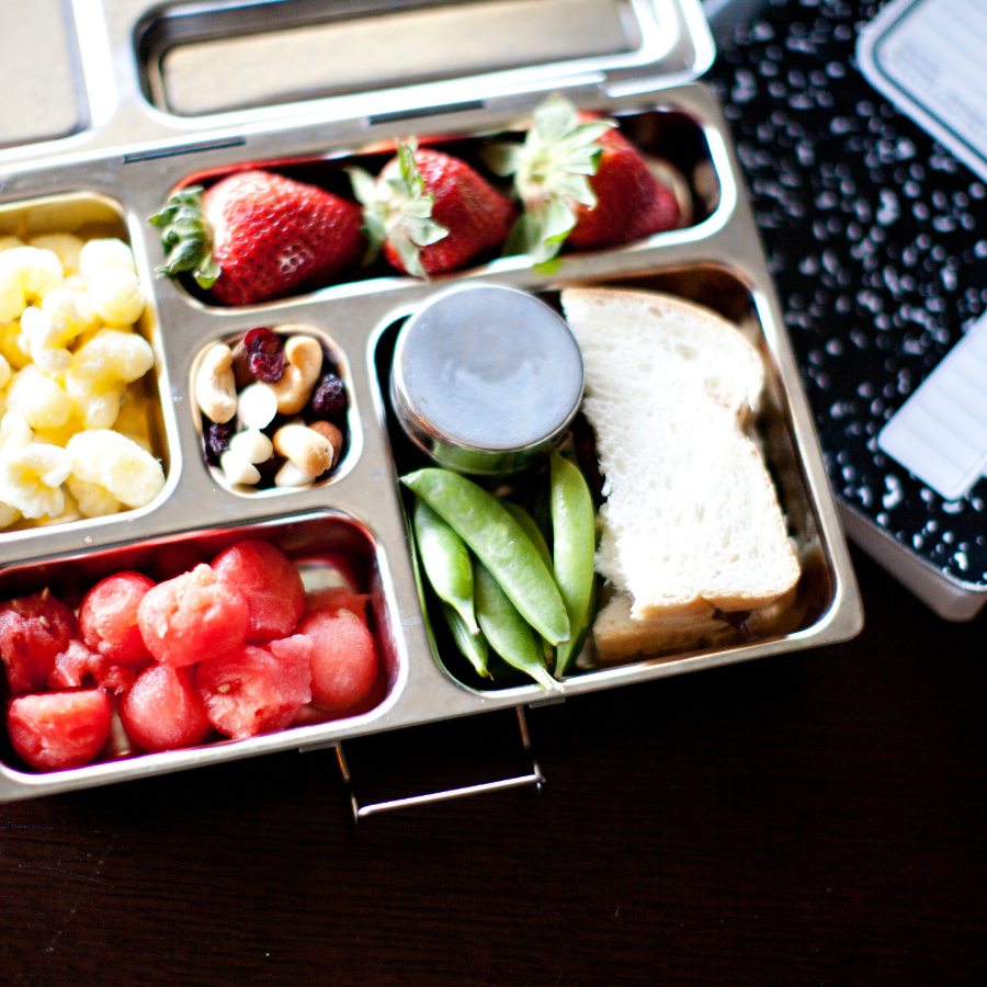 image of silver lunchbox with sandwich and healthy snacks in it
