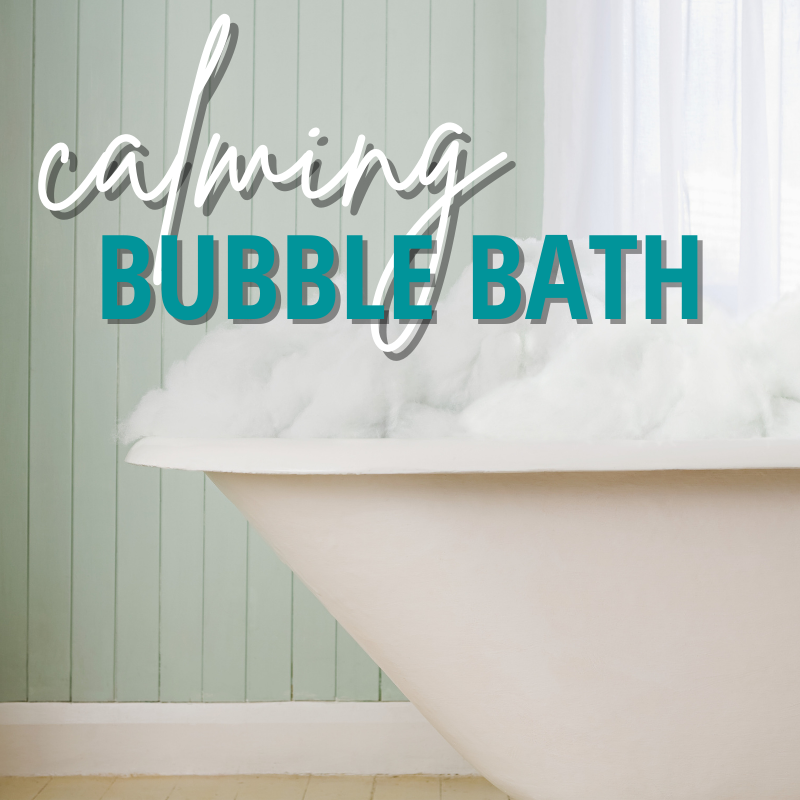 calming bubble bath - image of white bathtub overflowing with buble