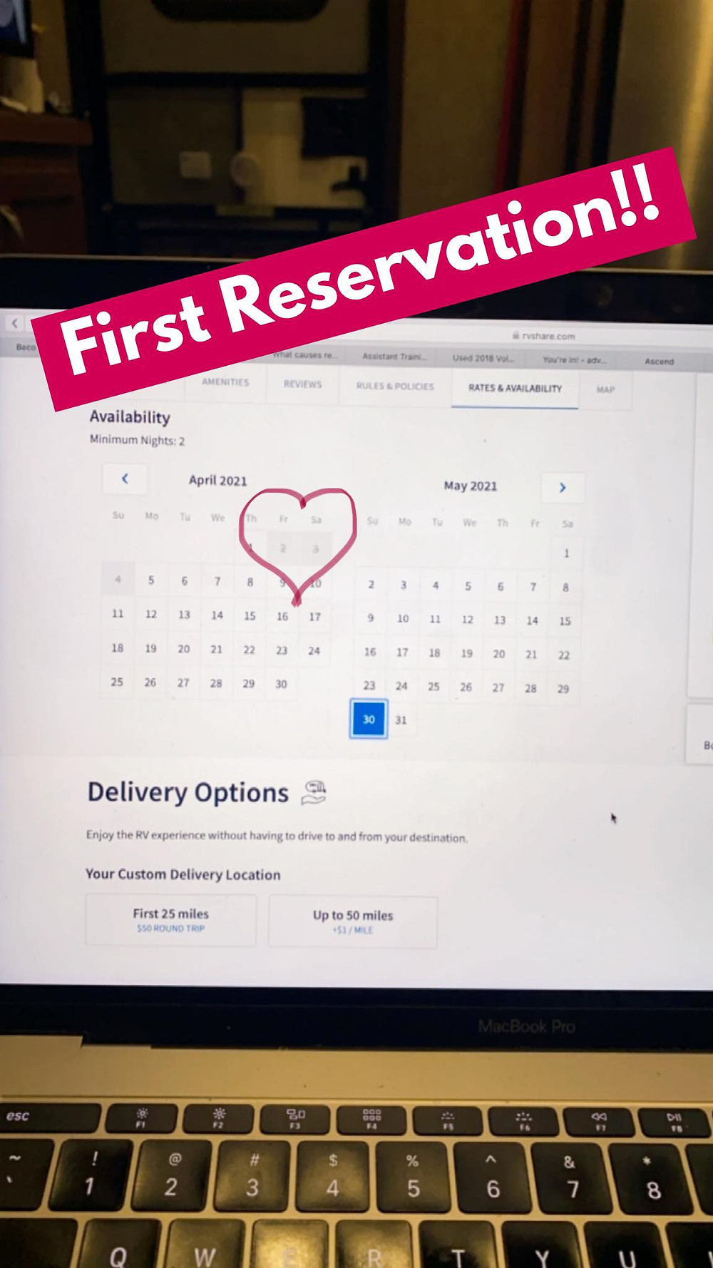 First Reservation on RVshare