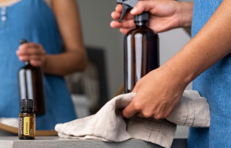 doterra lemon essential oil and diy glass cleaner