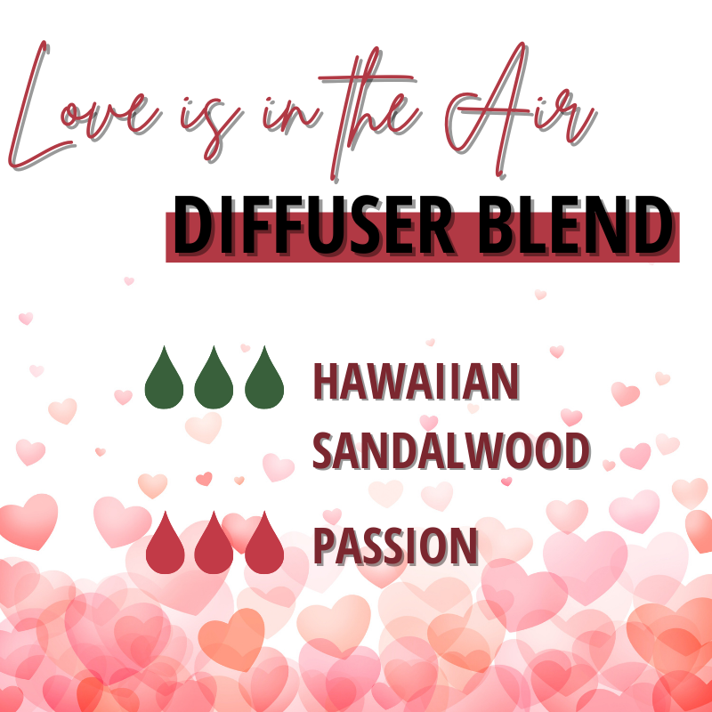 Love is in the air diffuser blend. 3 drops Hawaiian Sandalwood and 3 drops passion.