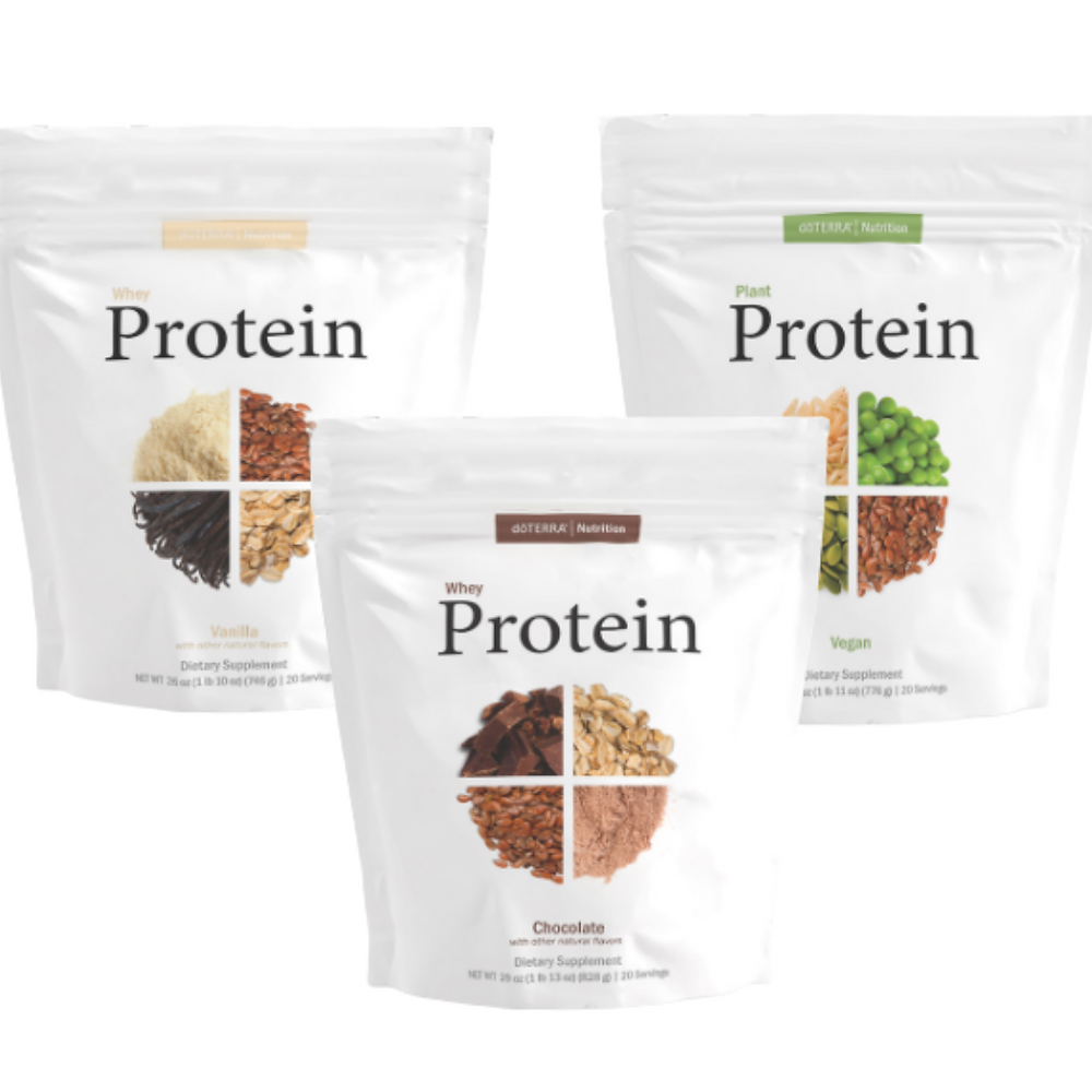 doterra's chocolate, vanilla, and vegan protein powders