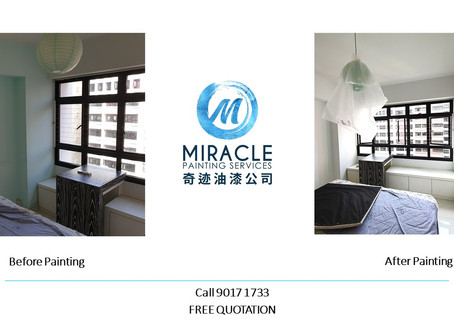 Before and After Painting - All White Singapore Home Painting Promotion