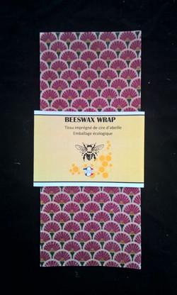 Beeswax Wrap carré éventails Prune