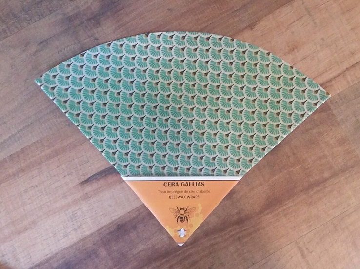 Beeswax Wrap rond gm éventails Turquoise