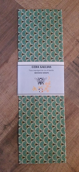 Beeswax Wrap rectangle éventails Turquoise