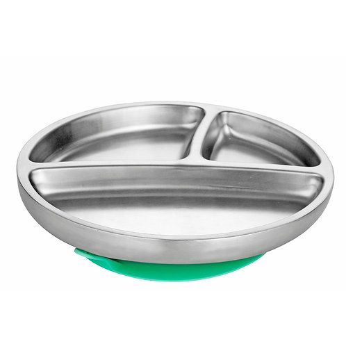Avanchy Stainless Steel Toddler Suction Plate-Green