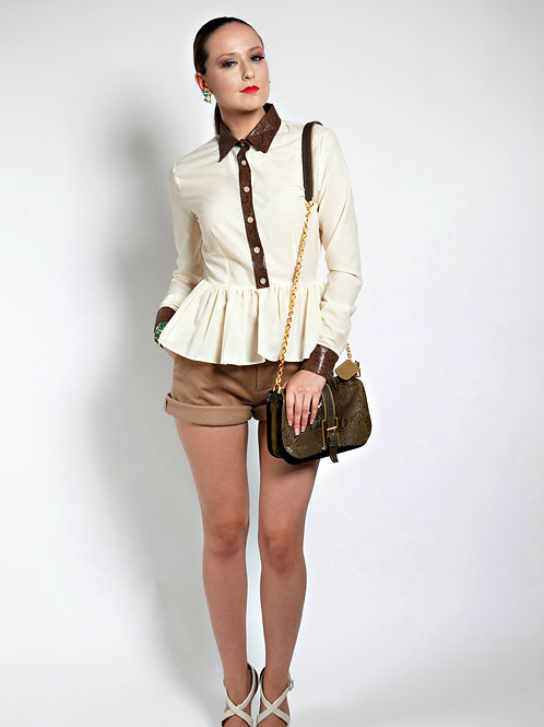 Lux  Peplum Button Up Blouse