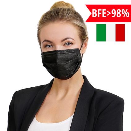 50 מסכות רפואיות היפואלרגניות 98% הגנה - בצבע שחור יבוא מאיטליה