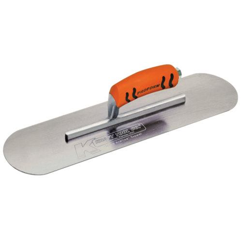 "10"" x 3"" Carbon Steel Pool Trowel with a ProForm® Handle on a Short Shank"