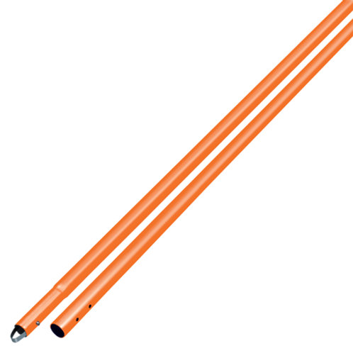 "8' Orange Powder Coated Aluminum Swaged Button Handle - 1-3/4"" Diameter"