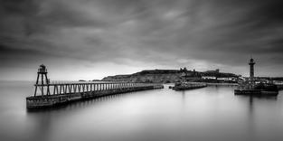 Whitby Piers Monochrome