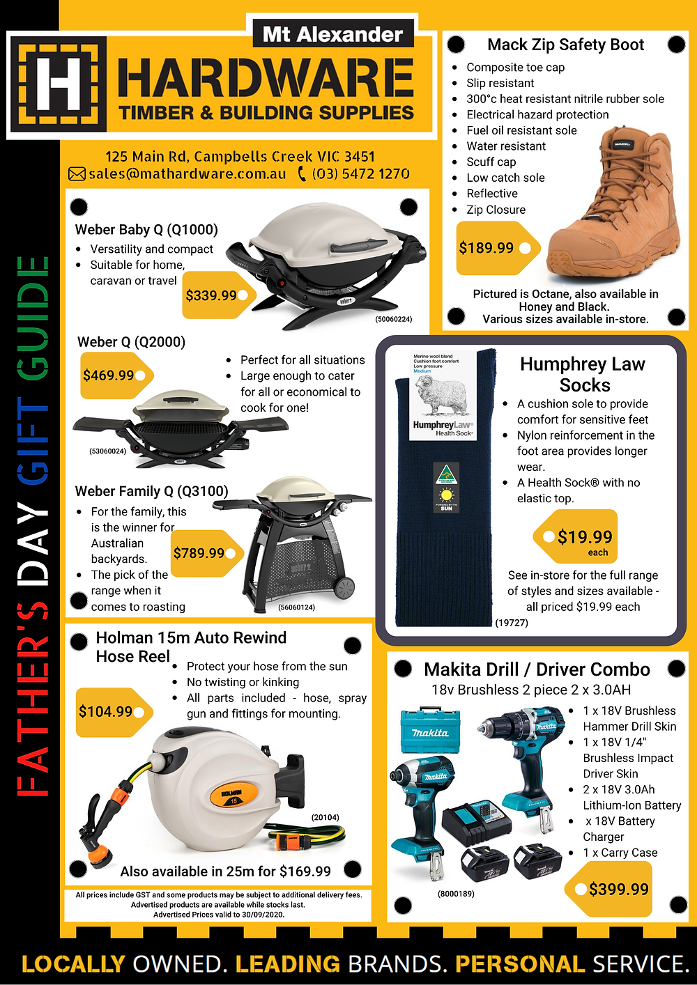 Father's Day Gift Guide 2020 Featuring Weber Q Series, Mack Boots, Humphrey Law Socks, Holman Hose Reel and Makita Drill and Driver Combo