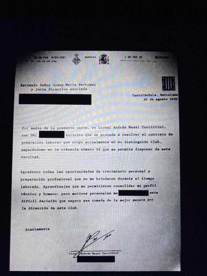 Bản fax tâm thư của Messi gửi Barca ngày 26/8 |JP88