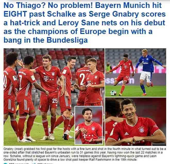 Daily Mail khẳng định, việc bán Thiago không ảnh hưởng đến sức mạnh của Bayern  VUA-THE-THAO