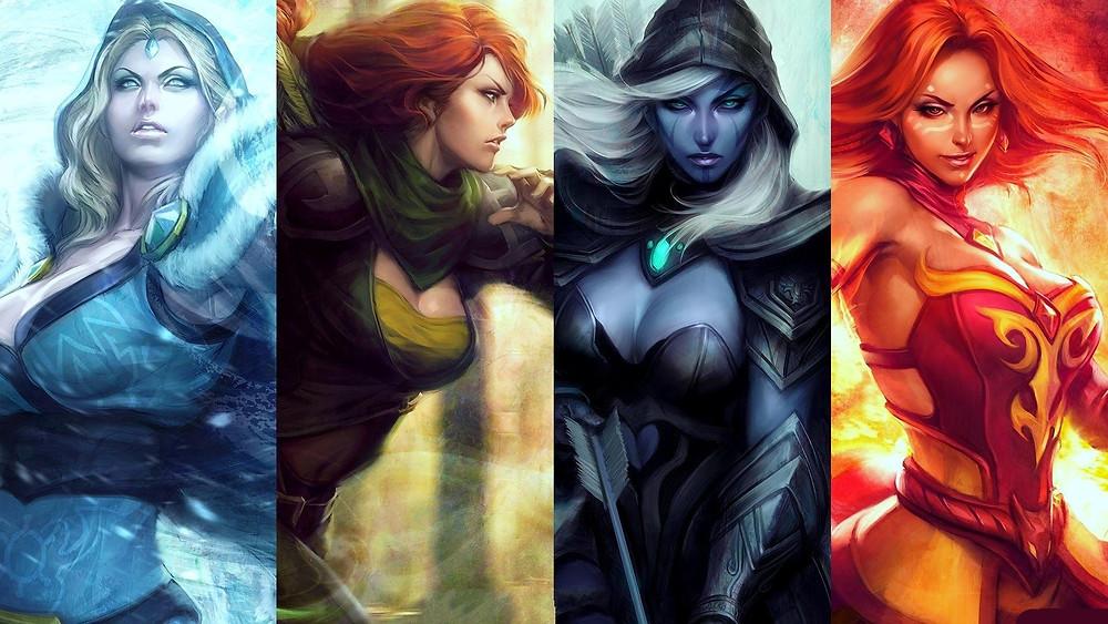 Từ trái sang phải Crystal Maiden – Windrunner – Drow Ranger – Lina |ST666-VN-GAME