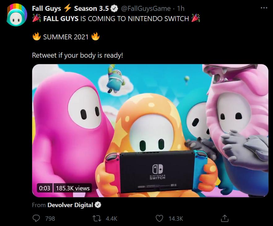 Cộng đồng game thủ đang hóng Fall Guys sẽ cập bến Nintendo Switch |VNGAMES