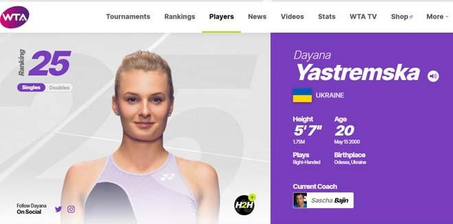 Dayana Yastremska hiện đang xếp hạng 25 thế giới |VUA-THE-THAO