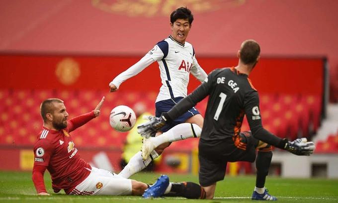 Son Heung-min dứt điểm qua người Luke Shaw và De Gea, giúp Tottenham dẫn lại 2-1 |VUA-THE-THAO