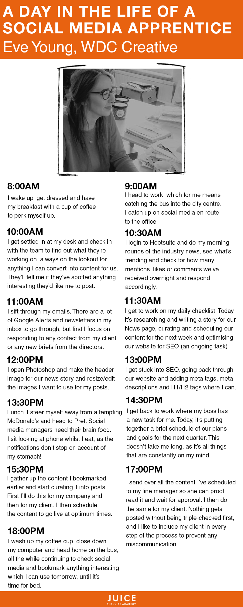 A Day In The Life of A Social Media Apprentice   Infographic