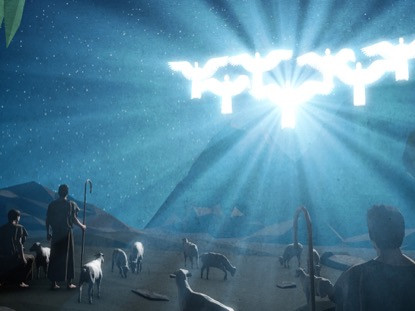 The angels announce the coming of Jesus