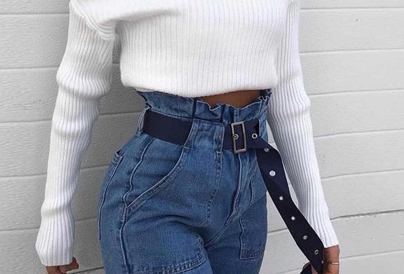 Plain One Shoulder Long Sleeve Knit Sweater