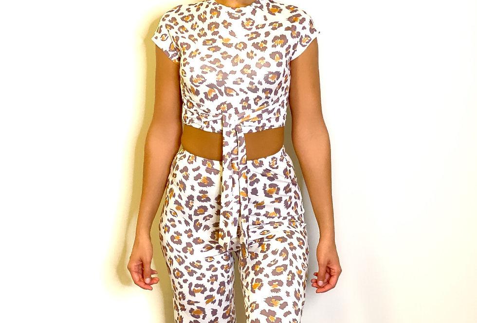 Leopard Print Bandage Short Sleeve Top & Gaucho Set