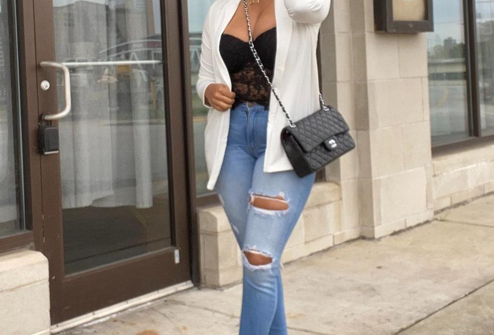 Beige Brief Solid Workwear Blazer Coat