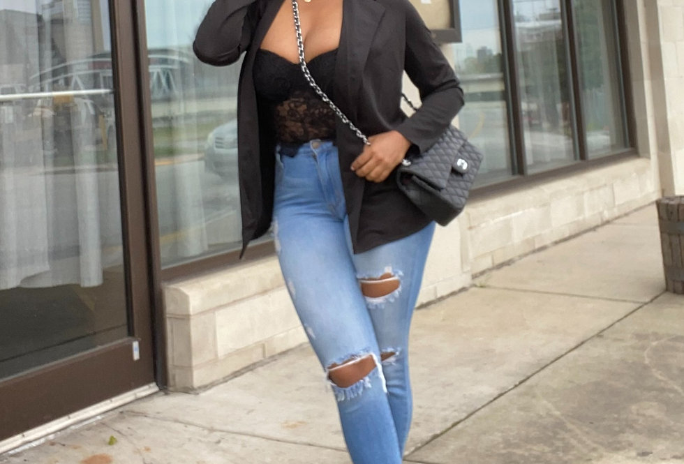 Black Brief Solid Workwear Blazer Coat