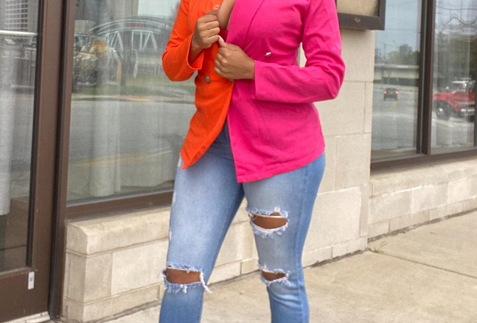 Orange/Pink Colorblock Patchwork Long Sleeve Blazer Dress