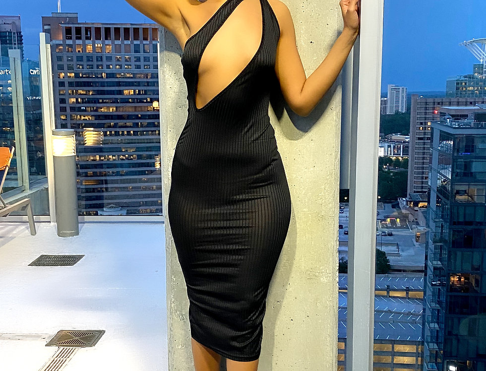 Ribbed Cut Out Chest Backless Bodycon Dress