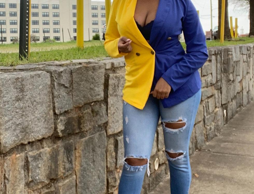 Yellow/Blue Colorblock Patchwork Long Sleeve Blazer Dress